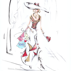 A stylish woman carries multiple shopping bags after a day at the sales.