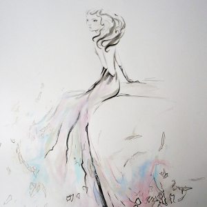 Original painting of a woman seated, created in elegant black line with touches of soft colour.