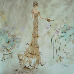 Painting of a woman in a gold floor-length gown watering her garden.