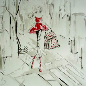 Original painting of a beautiful fashionista with a gigantic polka-dot bag.