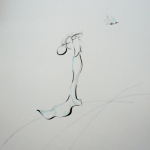 A stylised image of a woman in a long gown setting a bird free.