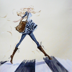 Painting of a woman in a cute fall outfit crossing the street.