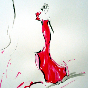 Stylised study of a woman in a bright pink gown and long black gloves.