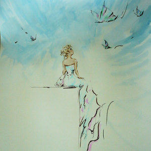 Painting of a seated woman looking up at butterflies in the sky.