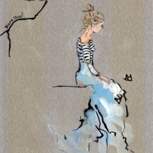 Original painting on silver-coloured card of a seated young woman watching a butterfly.
