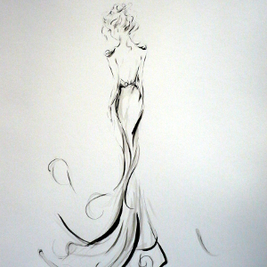 Monochrome study of a woman in a long gown with epaulettes.