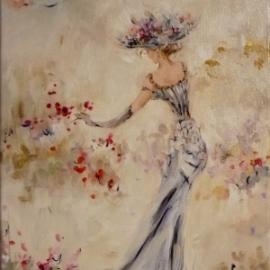 Semi-abstract painting of a woman in a formal gown with an umbrella.