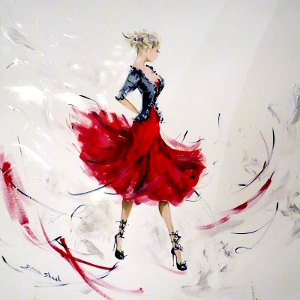 In this original painting, a beautiful fashionista rocks a gorgeous outfit in red and black.