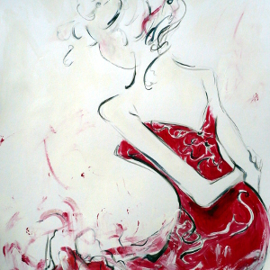 Original painting of a woman in a dramatic red evening gown.