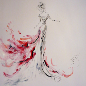 Painting in shades of red, black and white of a woman dancing.