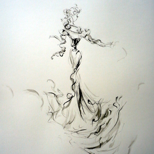 Monochrome semi-abstract drawing of a woman in a long gown.