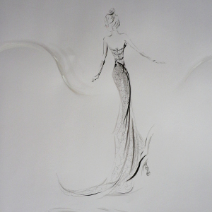 Monochrome painting of a confident woman in an evening gown.