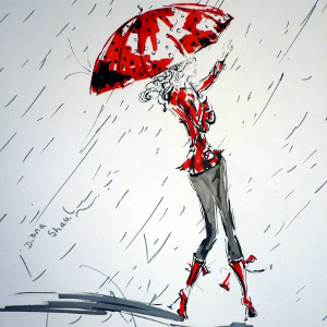Red and monochrome drawing: a woman hails a taxi in the rain.