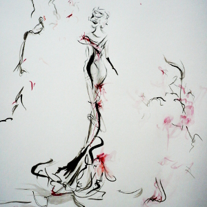 Semi-abstract painting of an elegant woman in red and black.