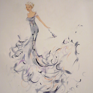 Painting of a woman in a grey semi-abstract gown leaving a party.