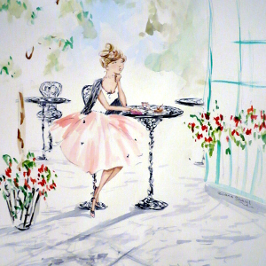 A young woman awaits news over tea and cake. Original painting.