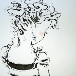 Ink and pencil profile drawing of a woman with her head dipped.