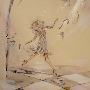 Surrounded musical notes, a flapper girl makes an entrance. Original painting.