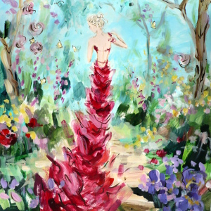 Original painting of a woman wearing a full-length red evening gown in a beautiful summer garden.