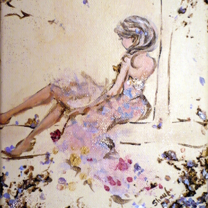 Original painting: a young woman in a pink dress sits at the window, alone with her thoughts.