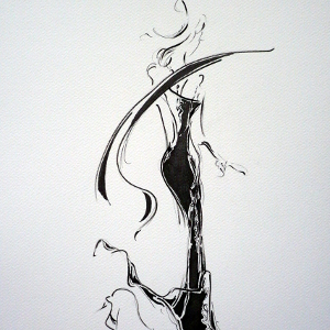 A semi-abstract monochrome image of an elegant woman running in heels.