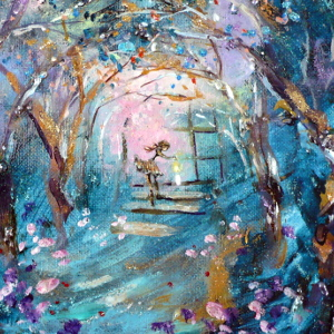 Under a canopy of trees, where a house once stood, a young woman lights a candle. Original painting.