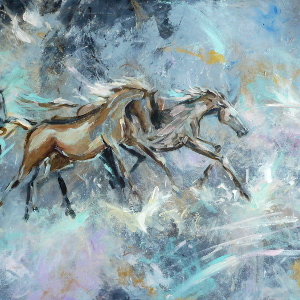 Original painting of racehorses against an abstract background featuring metallic shades.
