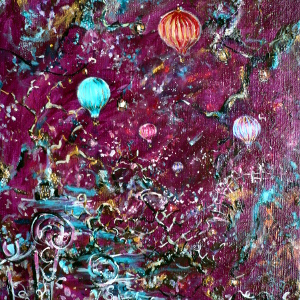 Painting in raspberry tones of hot air ballons navigating a cluttered sky.