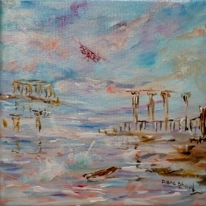 Painting of a biplane coming in for landing on an abandoned beach.