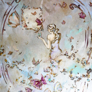 Original semi-abstract painting in jewelled and metallic tones of a woman and a multitude of butterflies.