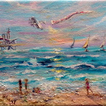 Enjoy the Journey - original painting of a beach scene on canvas in acrylic and mixed media.