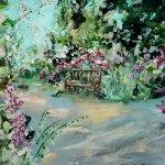 The Heart of Imperfection – original landscape in acrylic depicting a garden bench surrounded by flowers.