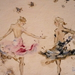 What I Did Next – ballerinas rehearse in this original painting in acrylic and mixed media.