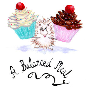 A Balanced Meal – original cartoon (hedgehog with cupcakes) in acrylic, ink, watercolour and graphite pencil.