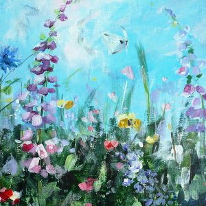 Forever Summer – original acrylic painting of a meadow in bloom.