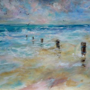 The Beach at Dawn – original painting of the water's edge in watercolour and acrylic.