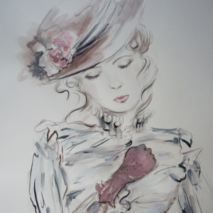 The Fighter – original painting in ink, watercolour, acrylic and graphite pencil of an Edwardian lady.